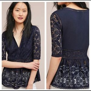 Anthropologie Peplum Lace Top NWT